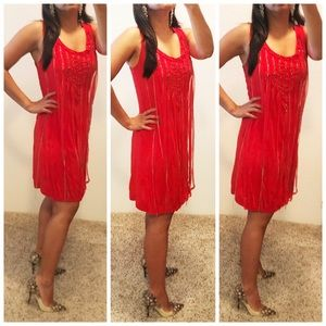 Sugar Lips Red party dress w/chains S